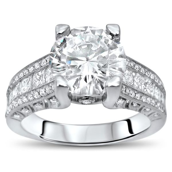 4 1/10 ct TGW Round Moissanite Princess Cut Diamond Engagement Ring 18k White Gold. Opens flyout.