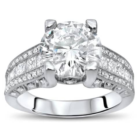 4 1/10 ct TGW Round Moissanite Princess Cut Diamond Engagement Ring 18k White Gold