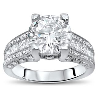 4 1/10 ct TGW Round Moissanite Princess Cut Diamond Engagement Ring 18k White Gold (More options available)