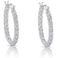 Finesque Sterling Silver .20ct TDW Diamond Miracle Plate Hoop Earrings (I-J, I2-I3)