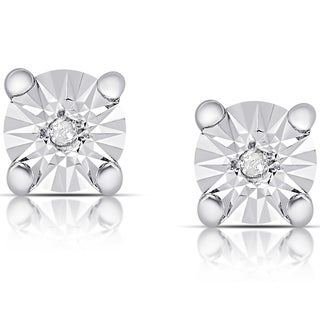 Finesque Sterling Silver Diamond Accent Miracle Plate Stud Earrings (I-J, I2-I3)