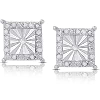 Finesque Sterling Silver 1/10ct TDW Diamond Miracle Plate Square Stud Earrings (I-J, I2-I3)
