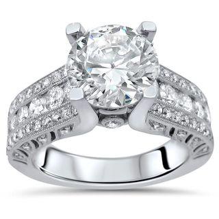 3 4/5 ct TGW Round Moissanite Diamond Engagement Ring 18k White Gold