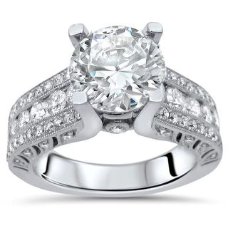 2 9/10 CT Round Moissanite Center 9/10 CT Diamond Surrounding Engagement Ring 18k White Gold (More options available)