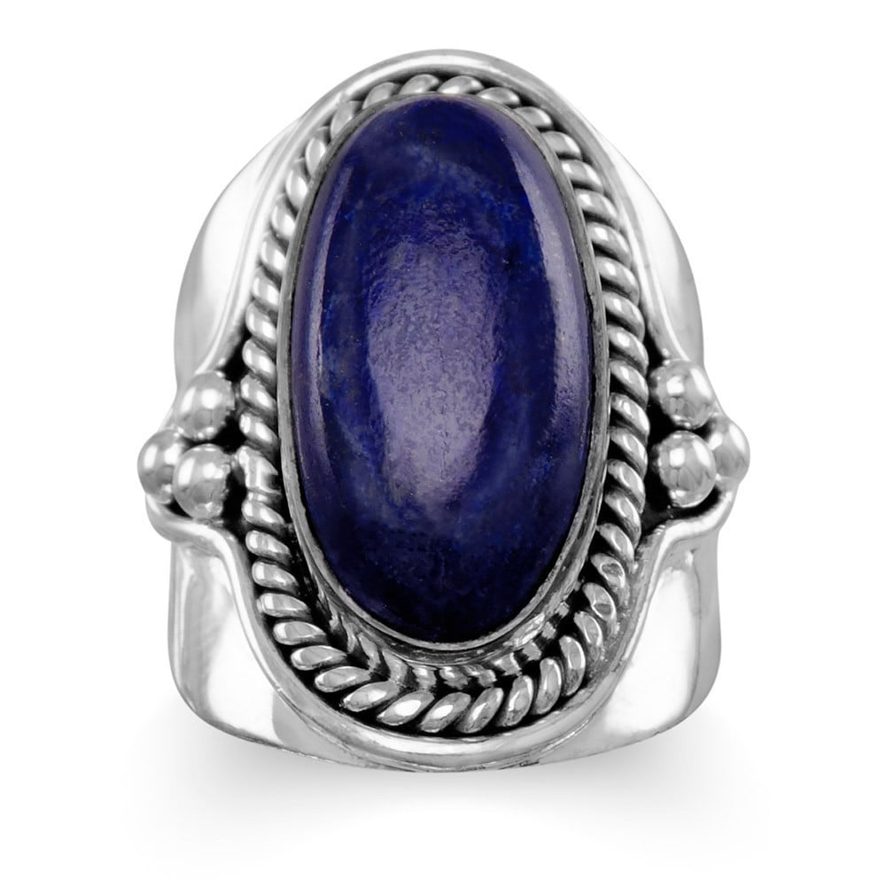 Sterling Silver Oxidized Bali Beaded Oval Lapis Ring - Bl...