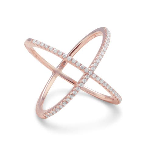 Sterling Silver 18 Karat Rose Gold Plated Criss Cross 'X' Cubic Zirconia Ring - Pink