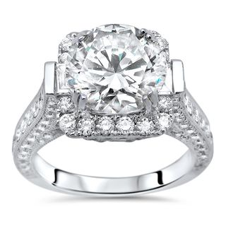 3 2/5 ct TGW Round Moissanite Diamond Engagement Ring 18k White Gold