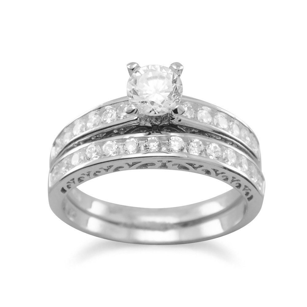 Sterling Silver Round Channel-set Cubic Zirconia Halo Eng...
