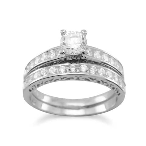 Sterling Silver Round Channel-set Cubic Zirconia Halo Engagement Ring and Wedding Band - Pink