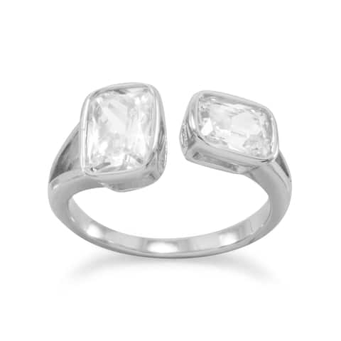 Sterling Silver Double Geometric Modern Rectangle Cubic Zirconia Ring