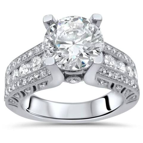 2 ct TGW Round Moissanite Center 4/5ct Diamond Surrounding Engagement Ring 18k White Gold