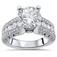 2 ct TGW Round Moissanite Center 4/5ct Diamond Surrounding Engagement Ring 18k White Gold