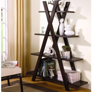 Contemporary Cappuccino X Shaped Bookcase