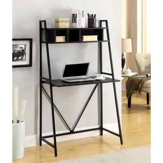 Black Wood/Metal Transitional-style Storage Writing Desk