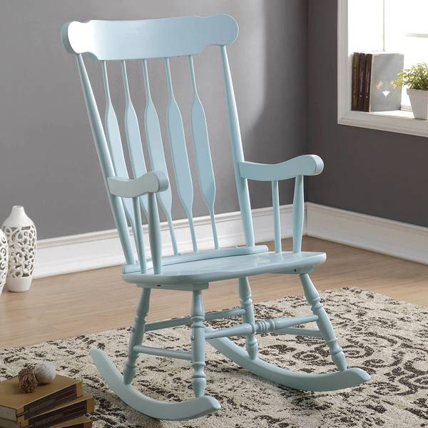 Windsor Arrow Back Country Style Light Blue Rocking Chair
