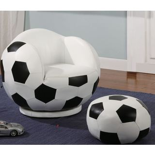 Kids Soccer Ball Design Chair and Ottoman