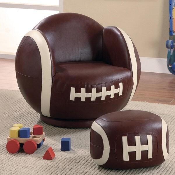 Kids Football Design Chair and Ottoman