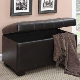 Plush Tufted Design Storage Ottoman Bench
