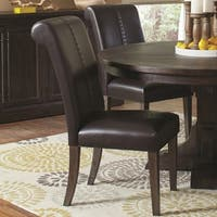 French Rolled Back Design Double Stitched Black Parson Chairs (Set of 2)