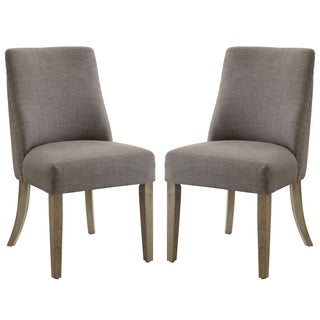 French Inspired Design Grey Upholstered Dining Chairs (Set of 2)
