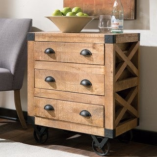 Industrial Design Accent Drawer Cabinet with Metal Casters