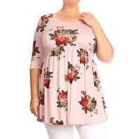 Women's Plus Size Rose Pattern Tunic Top