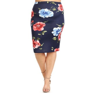 Women's Plus Size Floral Pattern Pencil Skirts