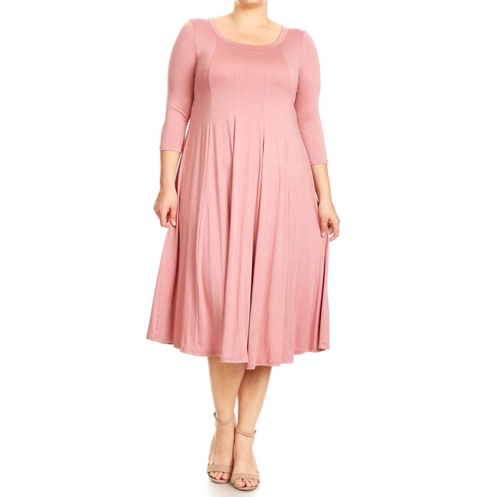 Womens Plus Size Dusty Pink Dress