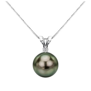 DaVonna Sterling Silver 1 20 Diamond 8 8 5 Mm AAA Tahitian South Sea Pearl Pendant Necklace 18 Inch
