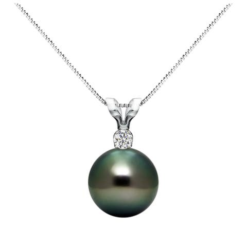 DaVonna Sterling Silver 1/20 Diamond 9-9.5 mm AAA Black Tahitian South Sea Pearl Pendant Necklace, 18-inch