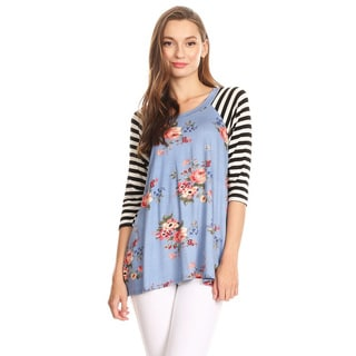 Women's Striped Sleeve Floral Pattern Top