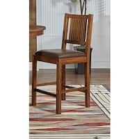 Simply Solid Devon Oak Wood Counter Dining Chairs with Brown Cushions (Set of 2)