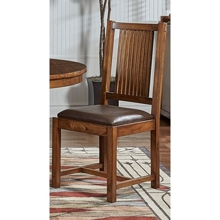 Simply Solid Gemma Oak Wood Dining Chairs with Brown Upholstery (Set of 2)