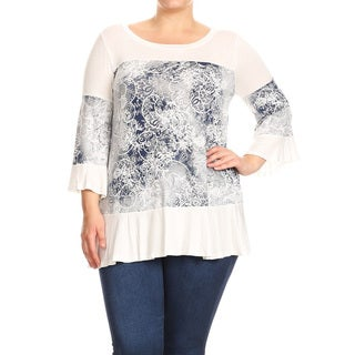 Women's Plus Size Floral Pattern Cutout Tunic