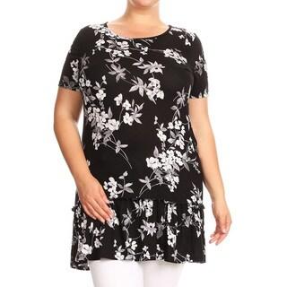 Women's Plus Size Floral Pattern Ruffled Hem Top