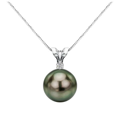 DaVonna 14k White Gold 1/20 Diamond AAA 9-9.5 mm Round Black Tahitian South Sea Pearl Pendant Necklace, 18-inch