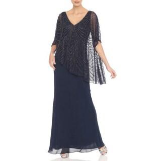 J Laxmi Women's Navy Asymmetrical Sheer Capelet popover Dress (As Is Item)