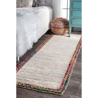 nuLOOM Handmade Woven Striped Denim Rag Ivory Runner Rug (2'6 x 8')