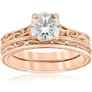 1ct Diamond Solitaire 14k Rose Gold Vintage Engagement Ring Wedding Band Clarity Enhanced (H-I, I1-I2)