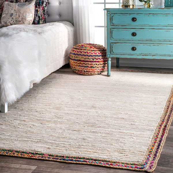 nuLOOM Handmade Woven Striped Denim Rag Ivory Rug (7'6 x 9'6)