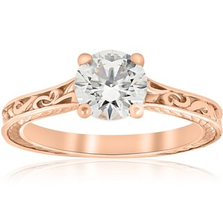 1ct Diamond Solitaire 14k Rose Gold Vintage Engagement Ring Art Deco Filigree Clarity Enhanced  (H-I, I1-I2)