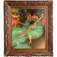 Edgar Degas 'The Green Dancer' Hand Painted Framed Oil Reproduction on Canvas