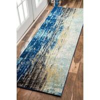 Oliver & James Serra Abstract Blue Vintage Runner Rug - Runner 2'8 x 12'