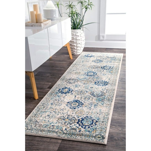 nuLOOM Traditional Faded Honeycomb Trellis Border Blue Runner Rug (2'8 x 8')