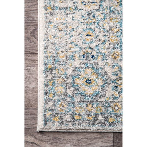 NuLOOM Traditional Faded Honeycomb Trellis Border Blue Runner Rug (2u00278 X  8u0027)   Free Shipping Today   Overstock.com   22500825