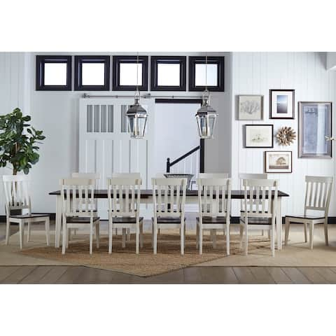 Tessa 9-piece Solid Wood Off-White Dining Set