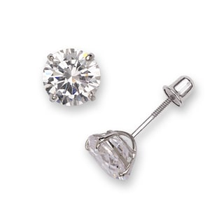 Sterling Silver Rhodium-plated Solitaire Round Cubic Zirconia CZ Stud Screw-back Earrings (3mm-7mm)