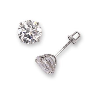 Sterling Silver Rhodium-plated Solitaire Round Cubic Zirconia CZ Stud Screw-back Earrings (3mm-7mm) (5 options available)