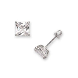 Sterling Silver Rhodium-plated Solitaire Square Cubic Zirconia CZ Stud Screw-back Earrings (3mm-7mm)