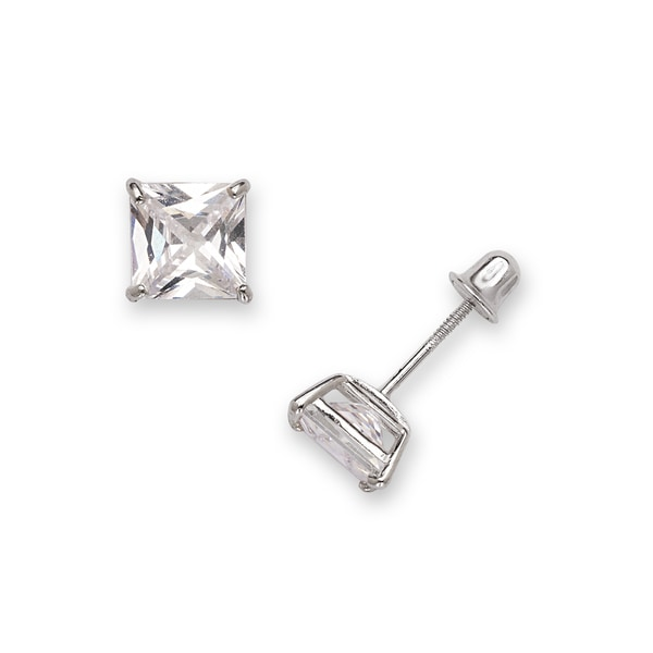 3261fd1a6 Shop Sterling Silver Rhodium-plated Solitaire Square Cubic Zirconia CZ Stud  Screw-back Earrings (3mm-7mm) - On Sale - Free Shipping On Orders Over $45  ...